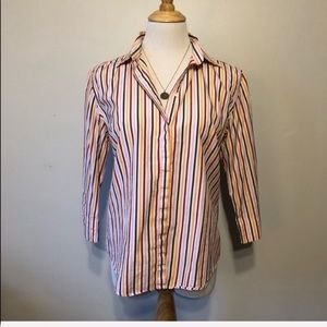 NORDSTROM-Faco Striped Pink/Orange Blouse/Top-Med
